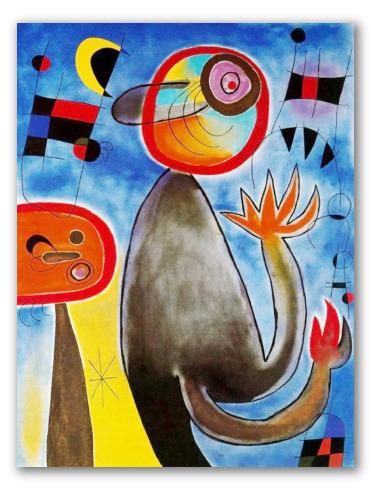 Escalera Cruza el Azul en Rueda de Fuego - Miró