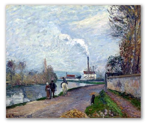 El Río Oise cerca de Pontoise con Cielo Gris