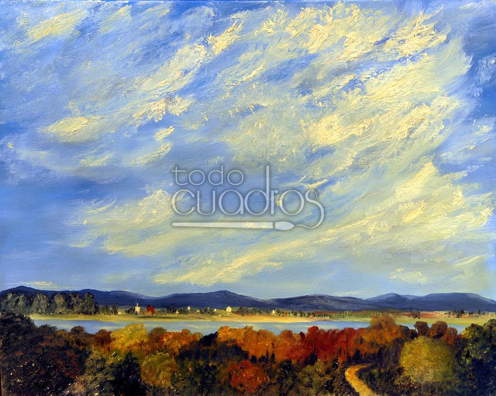Cuadro Puesta De Sol, Pintura De Paisaje Con Nubes