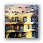 Parte derecha de la Casa Milà, detalle del óleo.